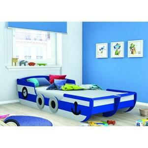 Lit + sommier enfant Capitaine 90x200cm Blanc / Bleu