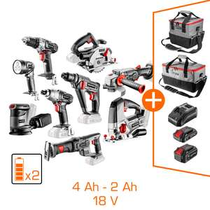 Pack Graphite: 9 machines + 2 batteries Li-Ion 4Ah & 2Ah + chargeur + 2 sacs porte-outils