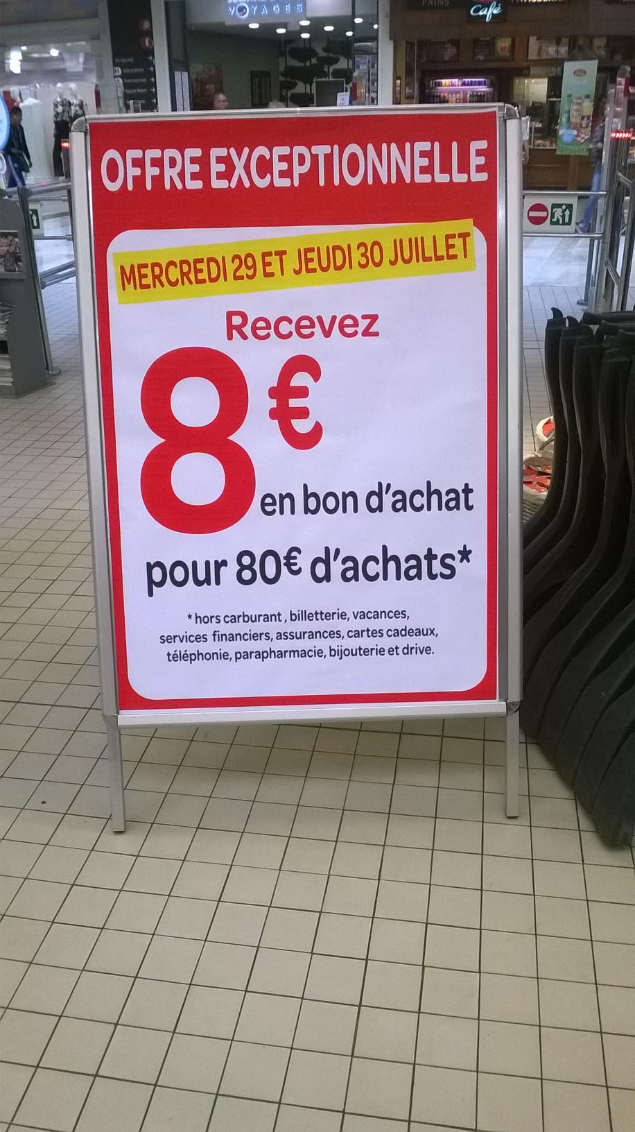 8€ offerts en bon d'achat dès 80€ d'achats (hors carburants, cartes cadeaux, téléphonie...)