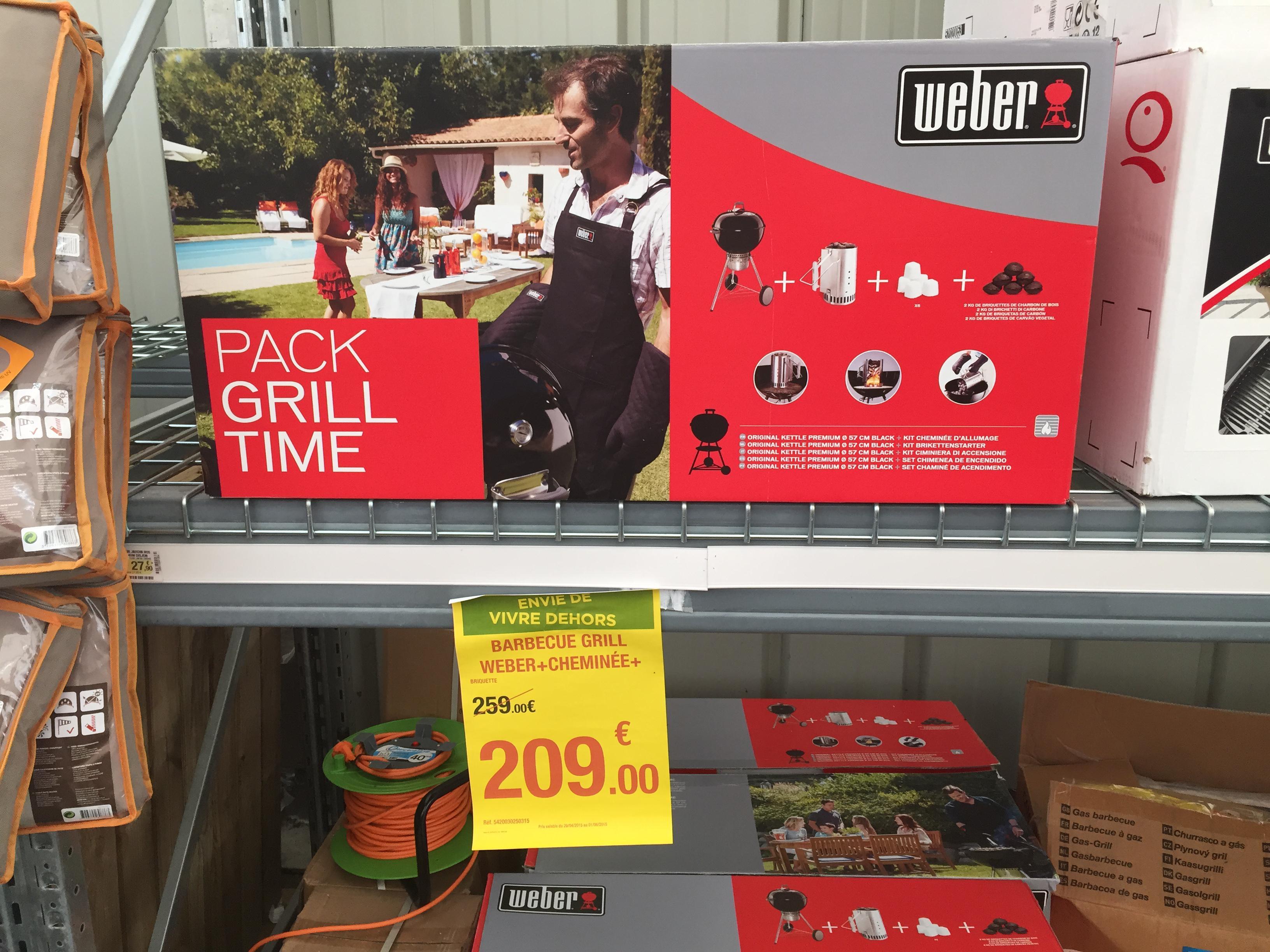 Pack Weber Grill Time Original Kettle + Cheminée à 209€ ou Barbecue électrique Weber Q1400
