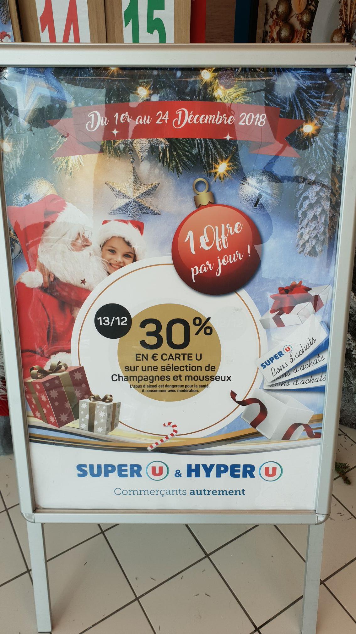 30% en Euros Carte U sur une sélection de champagnes et mousseux