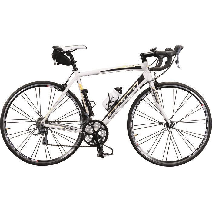 Vélo de route Spego 110 1.5 LTD Blanc Série limitée montée d'origine avec compteur + bidon/porte bidon + pompe + sacoche de selle