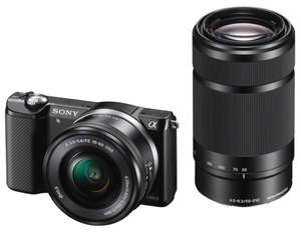"""Appareil Photo hybride 3"""" Sony A5000 (7,62 cm) 20 Mpix + 2 Objectifs : 16-50 mm e 55-210 mm (remis à neuf)"""