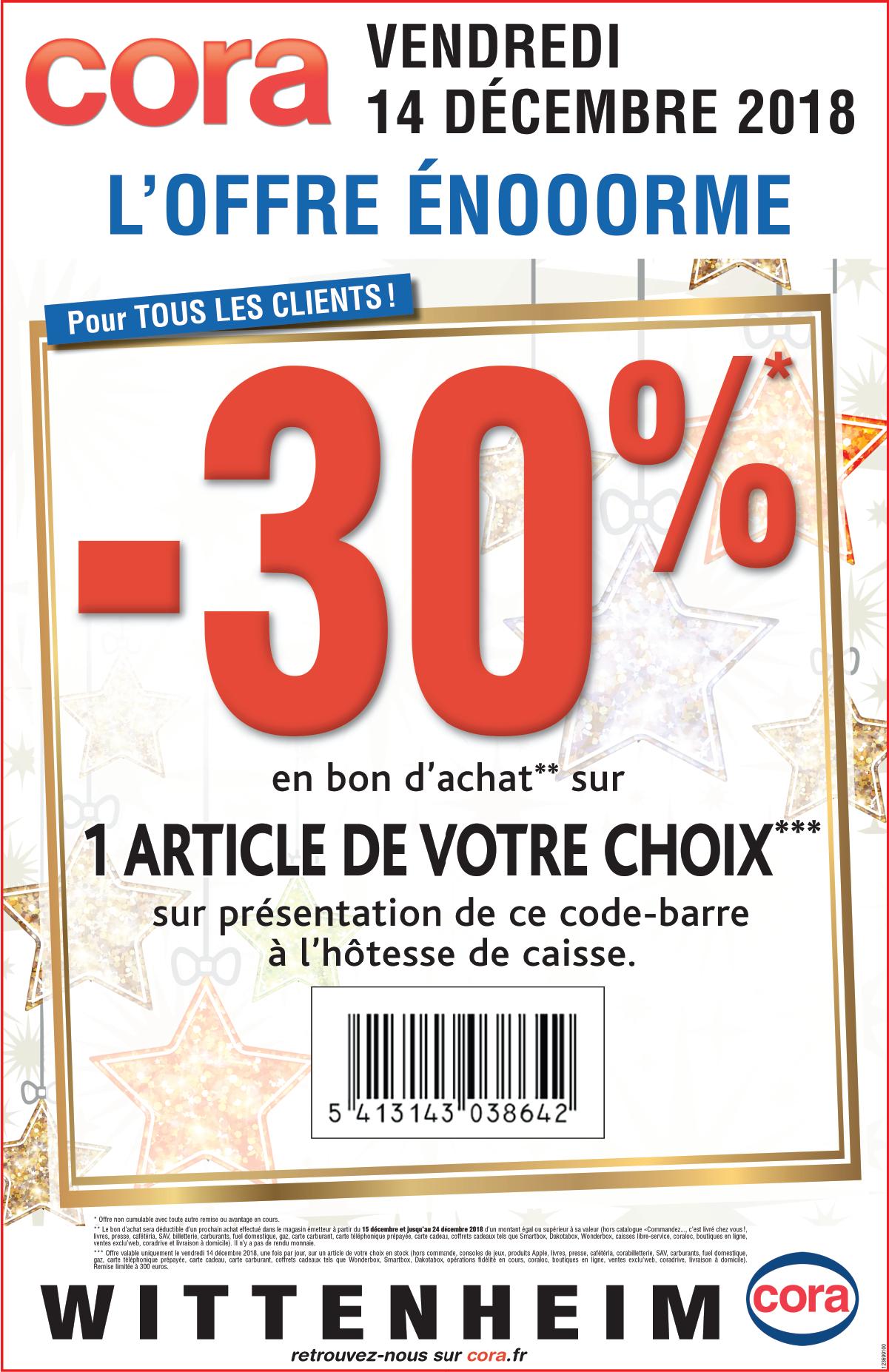 30% offerts en bon d'achat sur un article de votre choix (Hors exception) -  Cora Wittenheim (68)