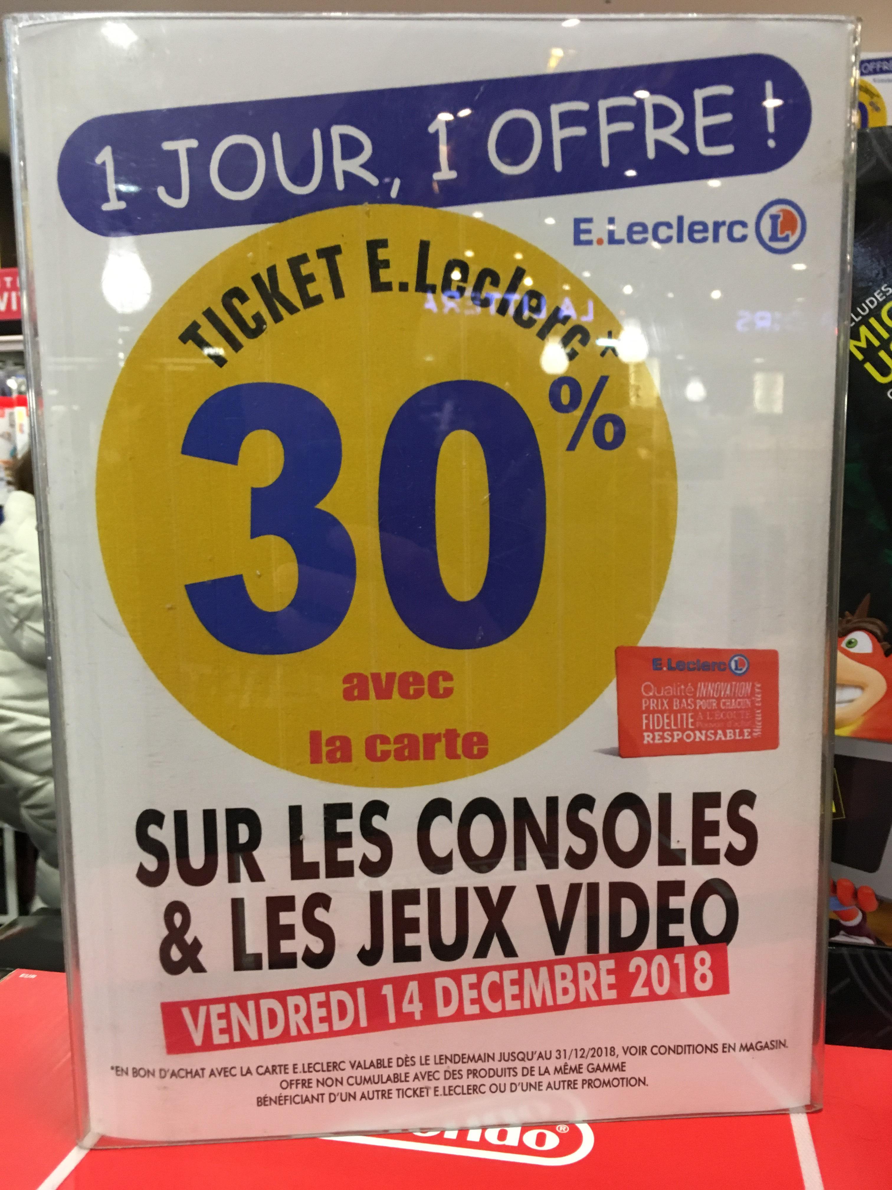 30% de réduction sur les consoles et jeux vidéo - Ex : Console Nintendo Switch (Via Bon d'achat de 87.75€) - Saint-Étienne-du-Rouvray (76)