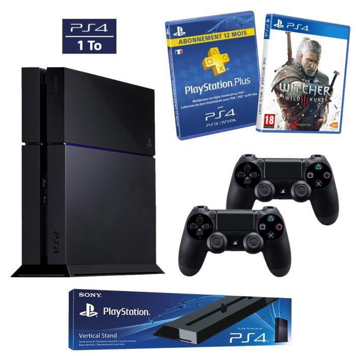 Console Sony PS4 1To + 1 Manette DualShock 4 supplémentaire + Abonnement PS Plus 12 mois + The Witcher 3 + Présentoir vertical (Via mobile à 389.99€) sinon