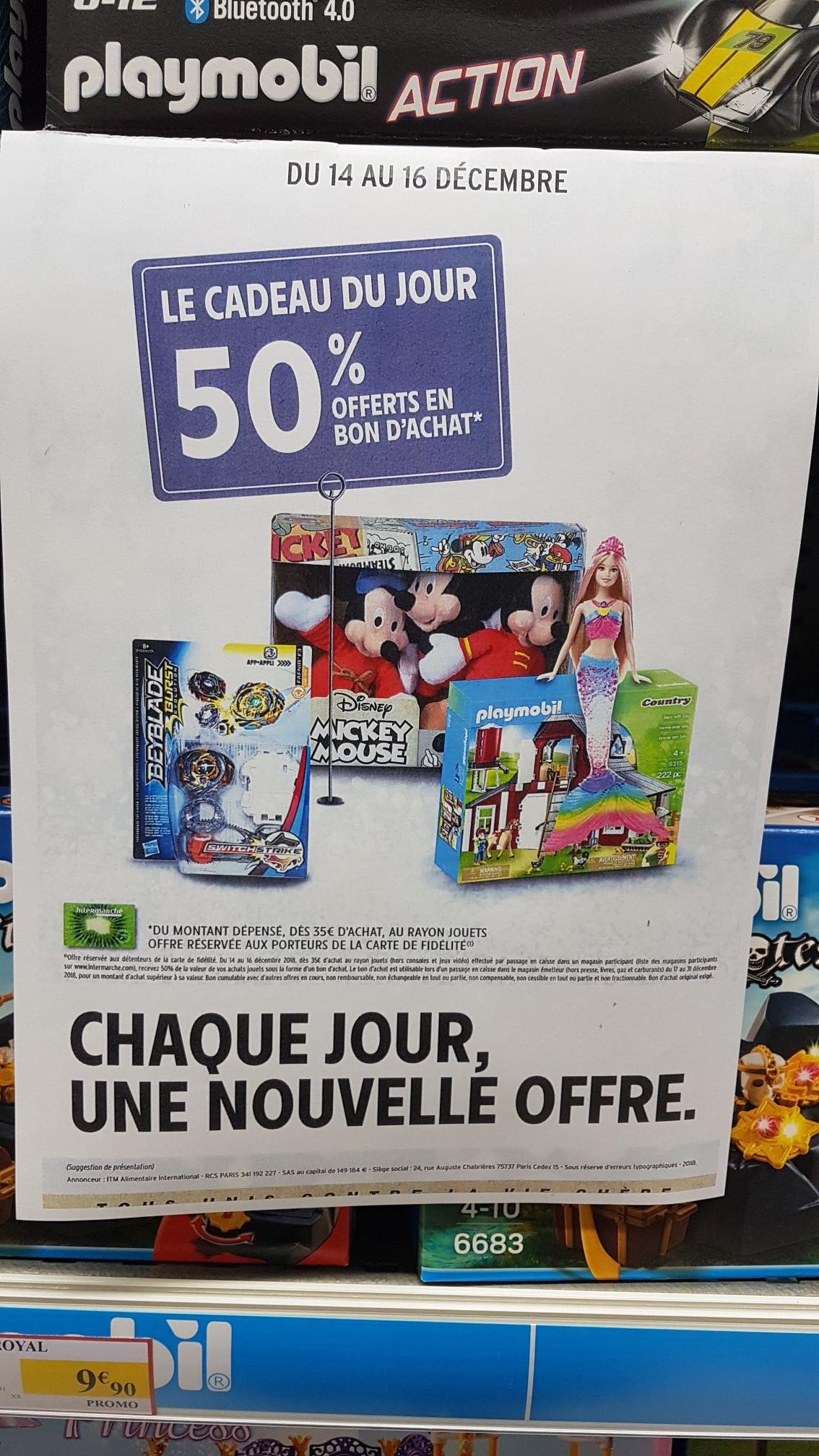 50% de réduction en bon d'achats sur tout le rayon jouets (à partir de 35€ d'achat) - Lamballe (22) et Bruz (35)