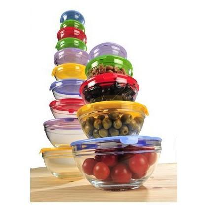 Lot de 15 bols transparents en verre avec couvercle