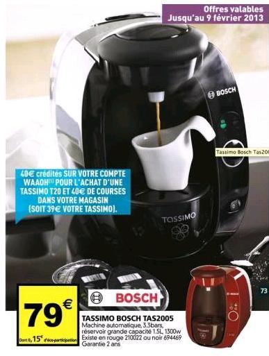 Tassimo T20 gratuite (40€ crédités sur carte Auchan Waaoh)