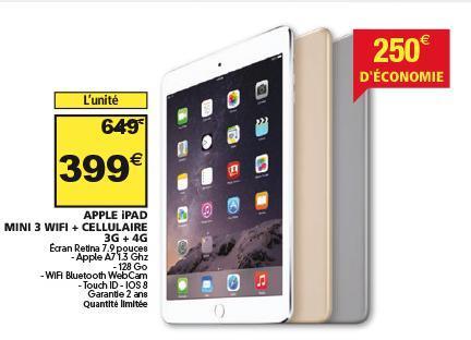 Tablette Ipad Mini 3 - 3g + 4G - 128 go