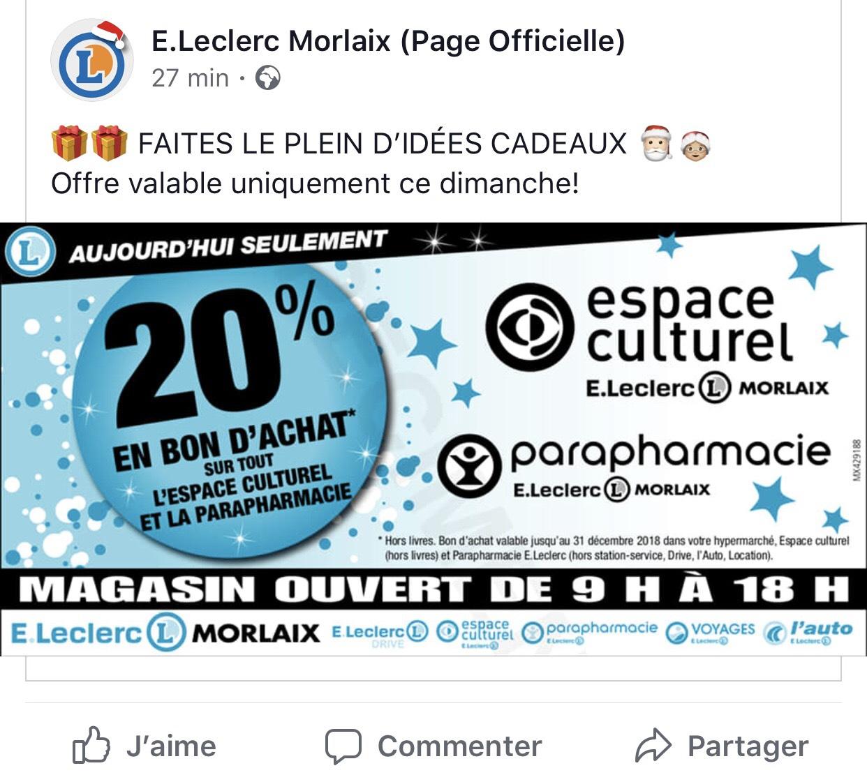 20% en bon d'achat sur vos achats (parapharmacie et espace culturel)- Morlaix (29)