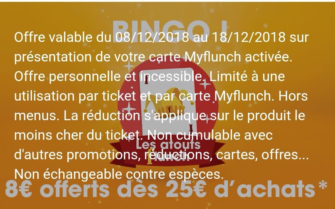 [Carte MyFlunch] 8 euros de réduction dès 25€ d'achats