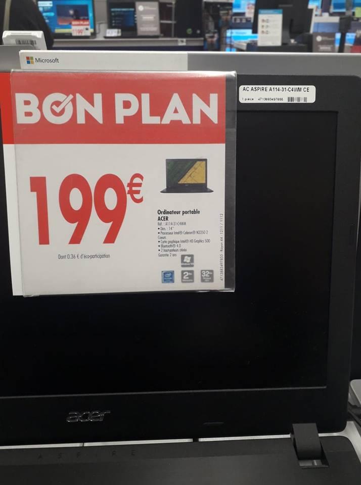 """PC Portable 14"""" Acer Aspire A114-31-C4WM - Celeron N3350, 2 Go de RAM, 32Go de mémoire eMMC - Châteauneuf-les-Martigues (13)"""