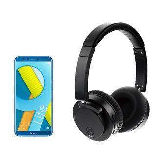 Pack Smartphone Honor 9 Lite Double SIM 64 Go Bleu + Casque Bluetooth X60 Noir avec Suppression active du bruit