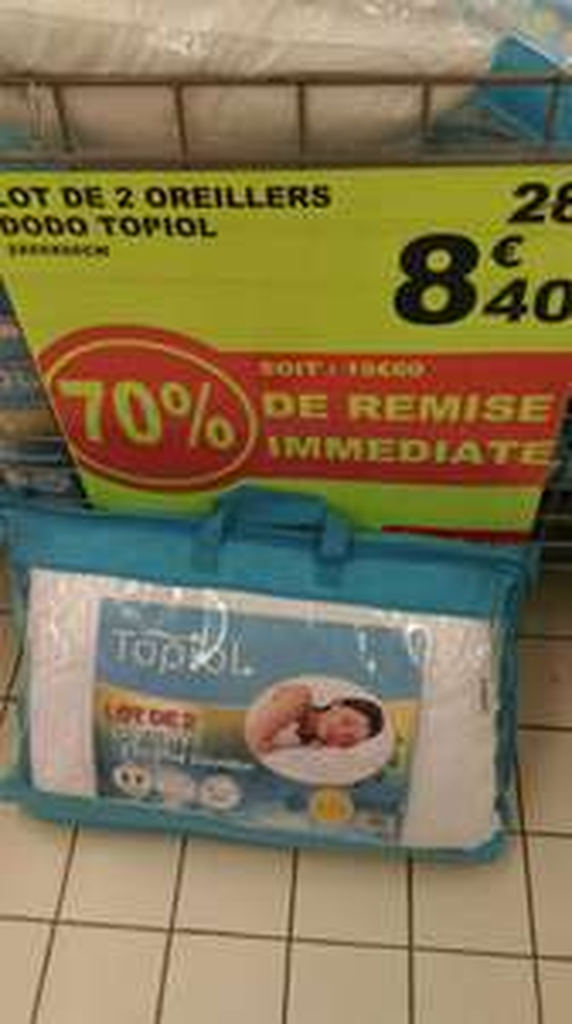 Lot de 2 oreillers Topiol Extrème Douceur 50x70 cm