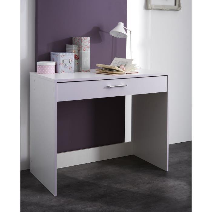 Bureau Lina 1 tiroir blanc/parme