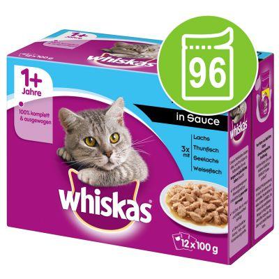 Lot de 96 sachets de sauces pour chat Whiskas 1+ - différents goûts, 96x100 g