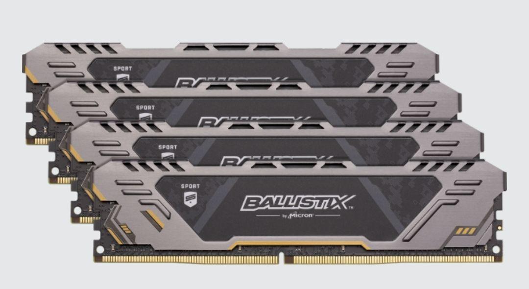 Kit memoire RAM DDR4 Ballistix Sport AT, 64Go (4 x 16Go), 2666 Mhz, CL16