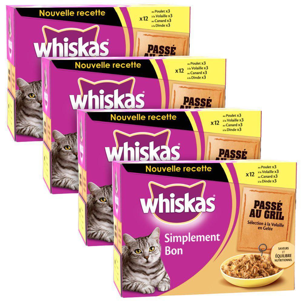 Lot de 4 packs de 12 sachets fraîcheur de 85g Whiskas Simplement bon passé au gril / à la volaille en gelée