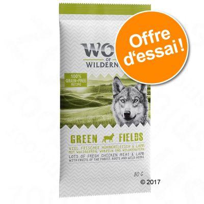 Lot de 5 sachets de croquettes pour chien Wolf of Wilderness Adult Green Fields ou Junior Wild Hills - 5x80 g