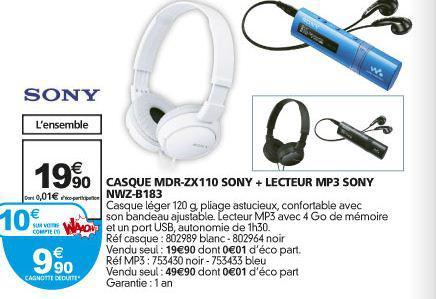 Ensemble casque et lecteur mp3 Sony (10€ sur la carte)
