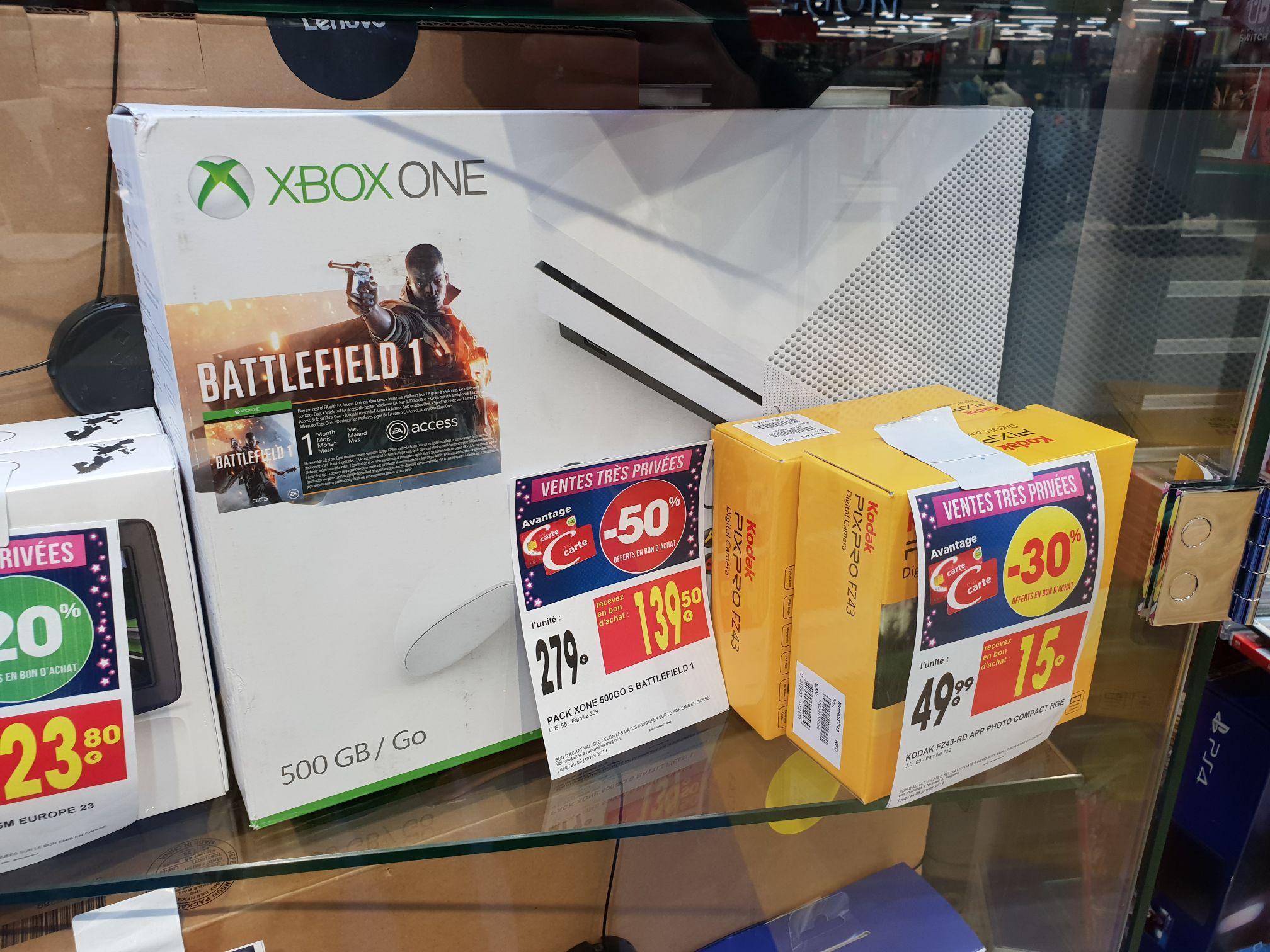 Console Microsoft Xbox one S (500 Go) + Battlefield 1 (via 139.5€ en bon d'achat) - Paris Masséna 13ème (75)