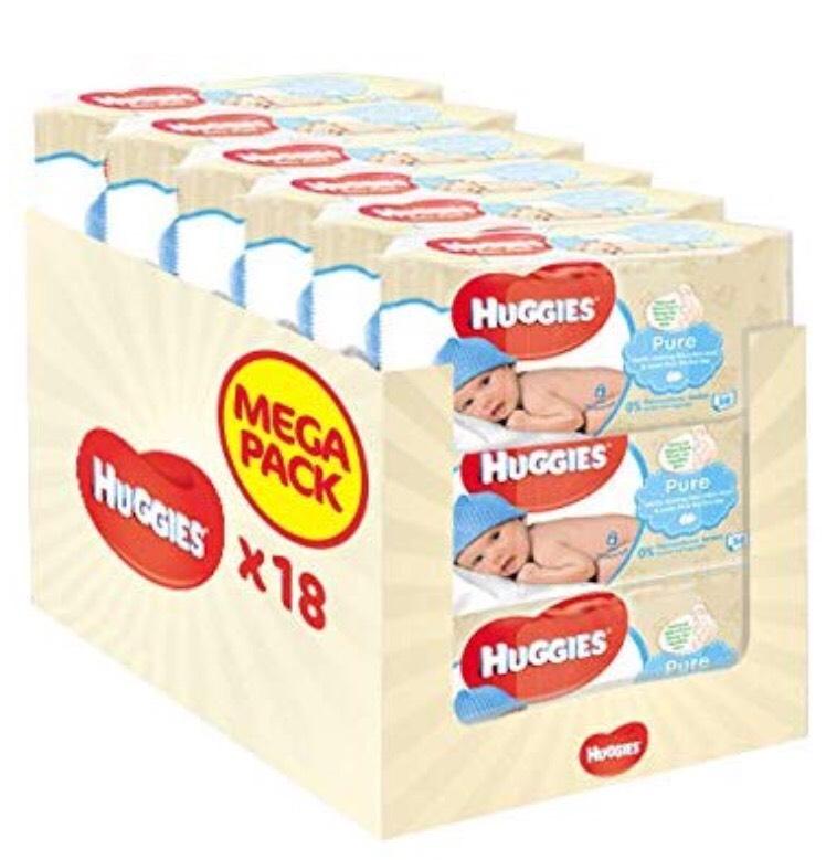 18 Paquets de 56 lingettes Huggies Pure 99% d'eau