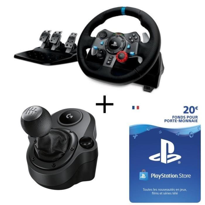 Pack Volant de course Logitech G29 pour PC, PS3 et PS4 + pédalier + Shifter + carte de 20€ à dépenser sur le Playstation Store
