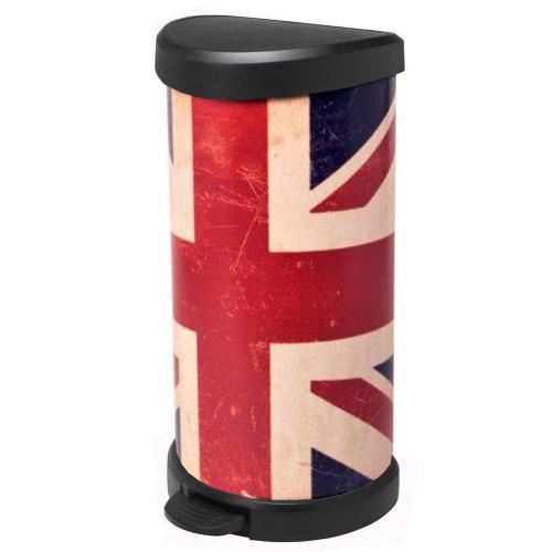 """Poubelle Curver 40L aspect métal """"Touch"""" Union Jack"""