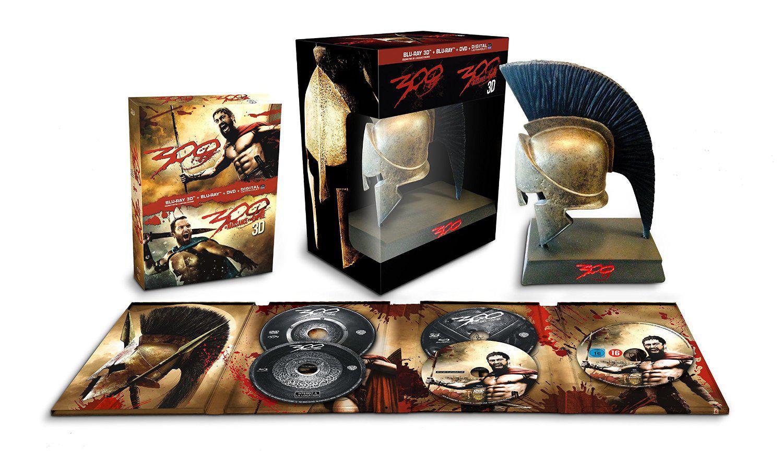 Coffret Collector 300 + 300 : La naissance d'un empire (Blu-ray + Blu-ray 3D + DVD + Casque Spartiate)