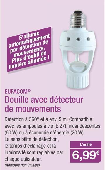 Douille Eufacom avec détecteur de mouvements