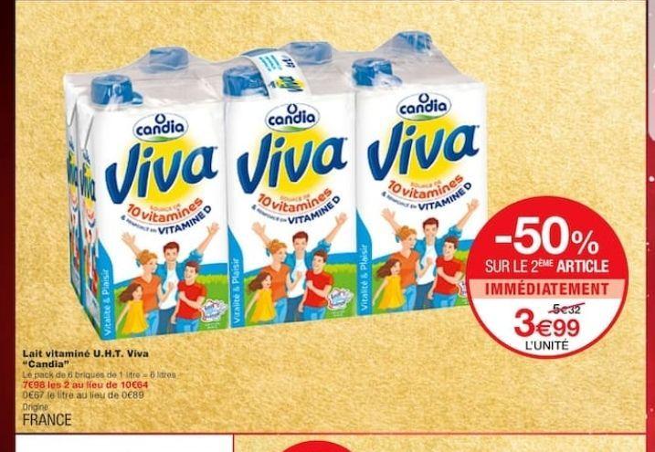 Lot de 2 Pack de Lait Viva - 6L