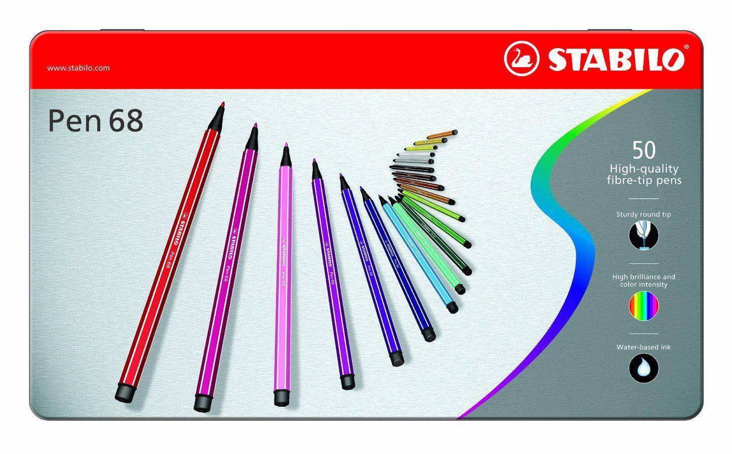 Boîte métal de 50 feutres Stabilo Pen 68