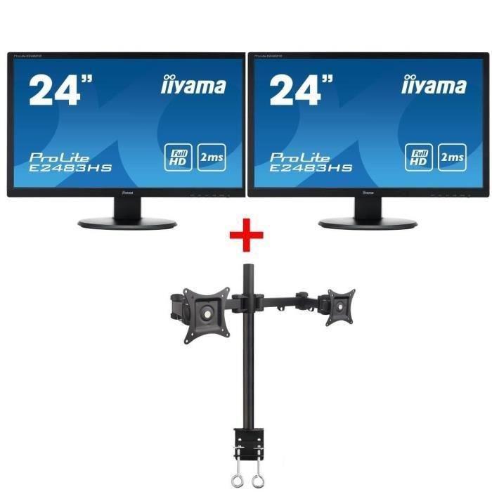 "Pack 2 écrans 24"" iiYama ProLite E2483HS-B1 Full HD + Support Inotek AMADC220"