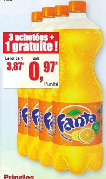 Lot de 4 bouteilles de Fanta - 1.5L