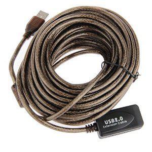 Rallonge USB 2.0 active (avec répéteur) 10 mètres, plusieurs coloris au choix (bleu, noir, gris foncé)