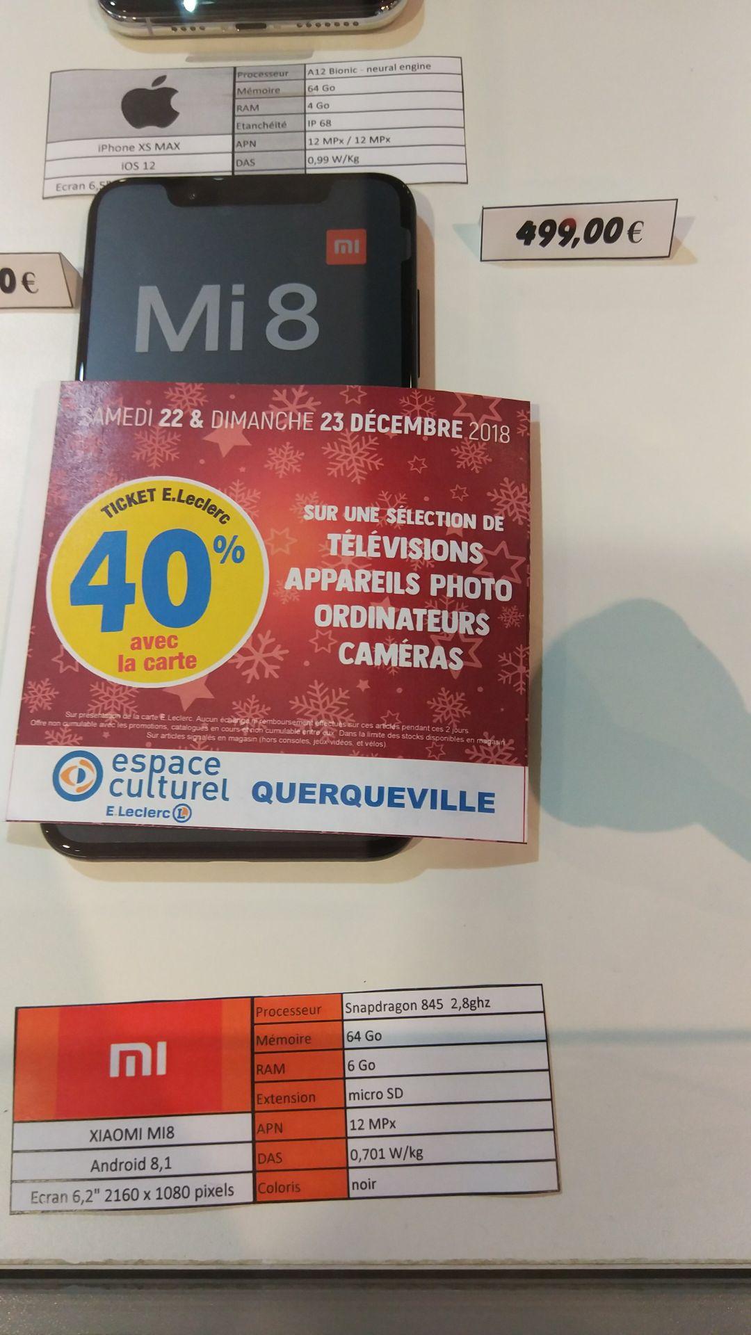 """Smartphone 6.21"""" Xiaomi Mi 8 - 64 Go (Via 199.60€ sur la carté fidélité et ODR de 50€  ) - Querqueville (50)"""