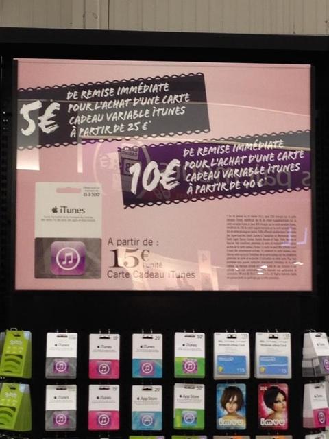 Promos sur les cartes iTunes : carte de 50€ à 40€, et celle de 25€