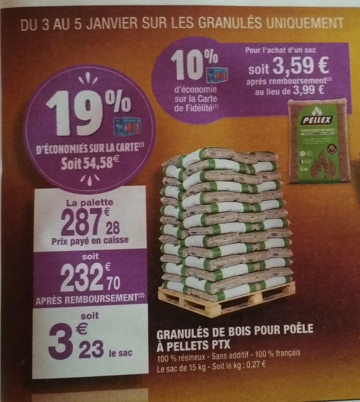 Palette De 72 Sacs De Granules De Bois Pellex 72 X 15 Kg Via 54 58 Sur La Carte De Fidelite Dealabs Com