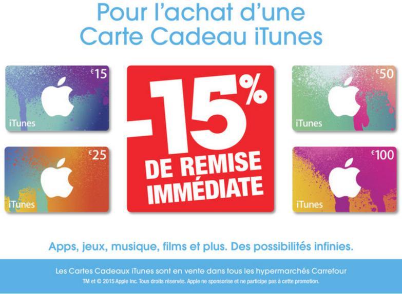 15% de réduction immédiate sur les cartes iTunes