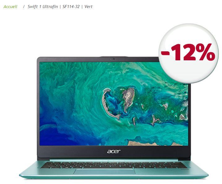 """PC Portable 14"""" Acer Swift 1 Vert (2018) SF114-32-P4CQ - Full HD, N5000, RAM 4Go, 64Go (Via ODR 30€)"""