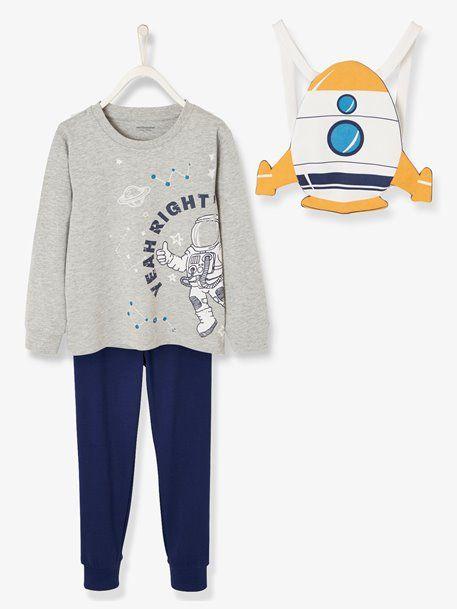 Pyjama garçon cosmonaute et son sac range-pyjama fusée- bleu royal imprime