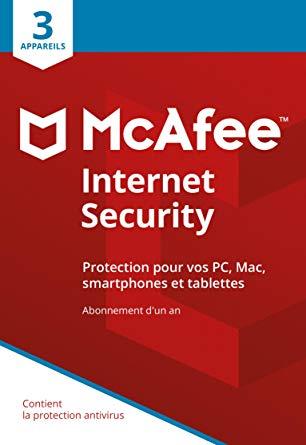 Licence de 6 mois McAfee Internet Security 2019 - 1 poste gratuit sur PC (Dématérialisé)