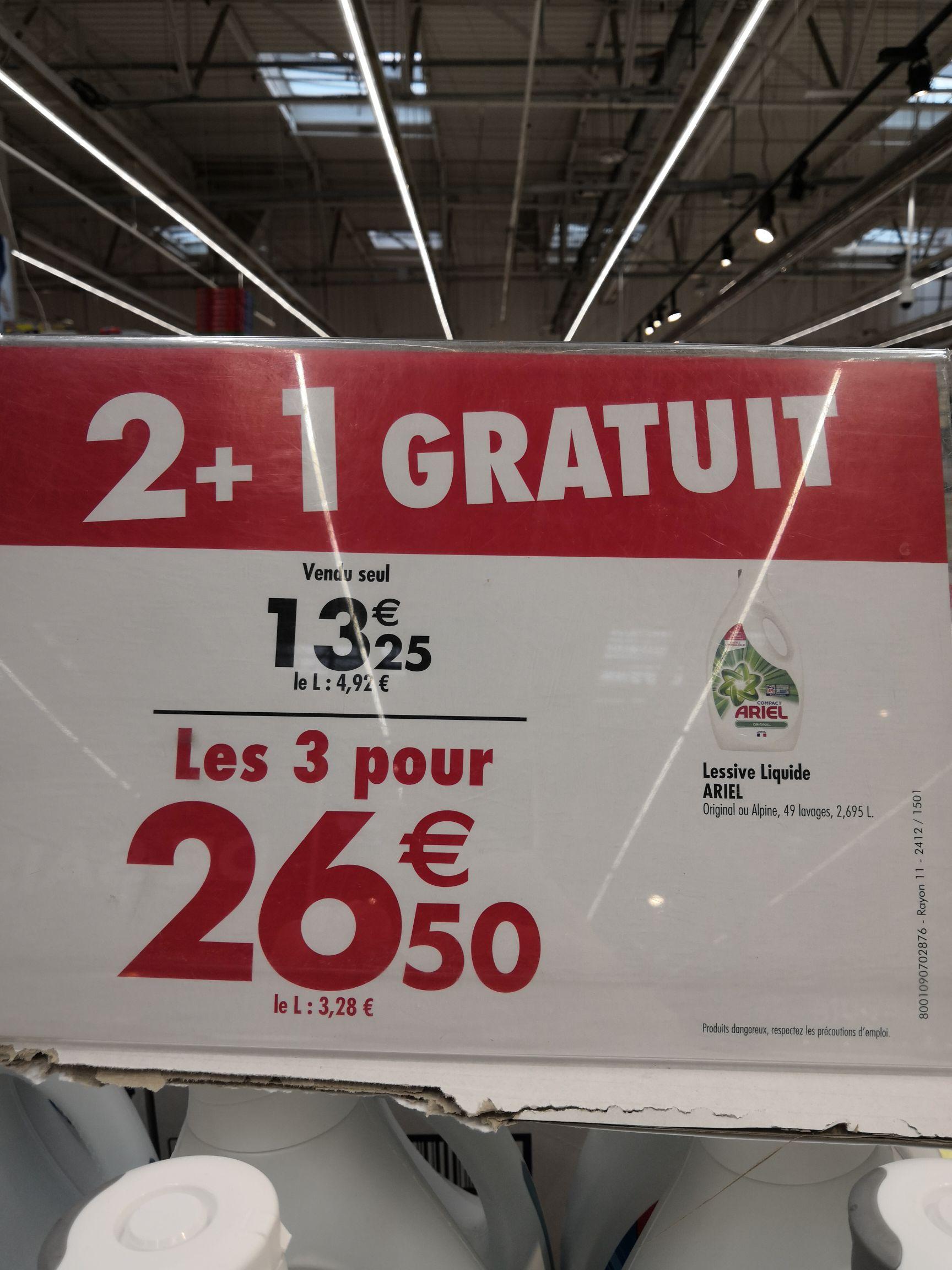 Lot de 3 bidons de lessive liquide Ariel Original ou Alpine (3x2.695 L) - Barentin (76)