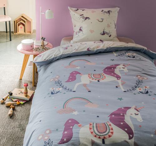 Parure de couette pour enfant - housse de couette (140x200 cm) + taie d'oreiller (63x63 cm), différents coloris