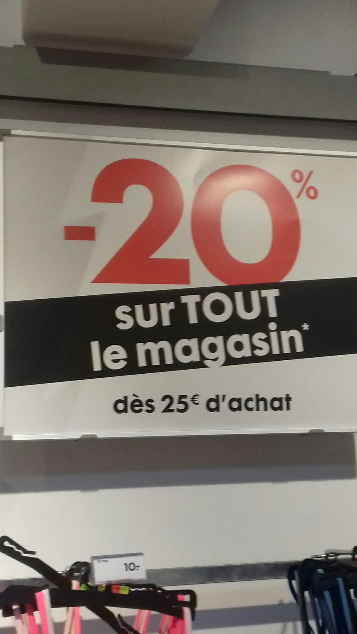 20% de réduction sur tout le magasin dès 25€ d'achats (hors exceptions) - Brest (29)