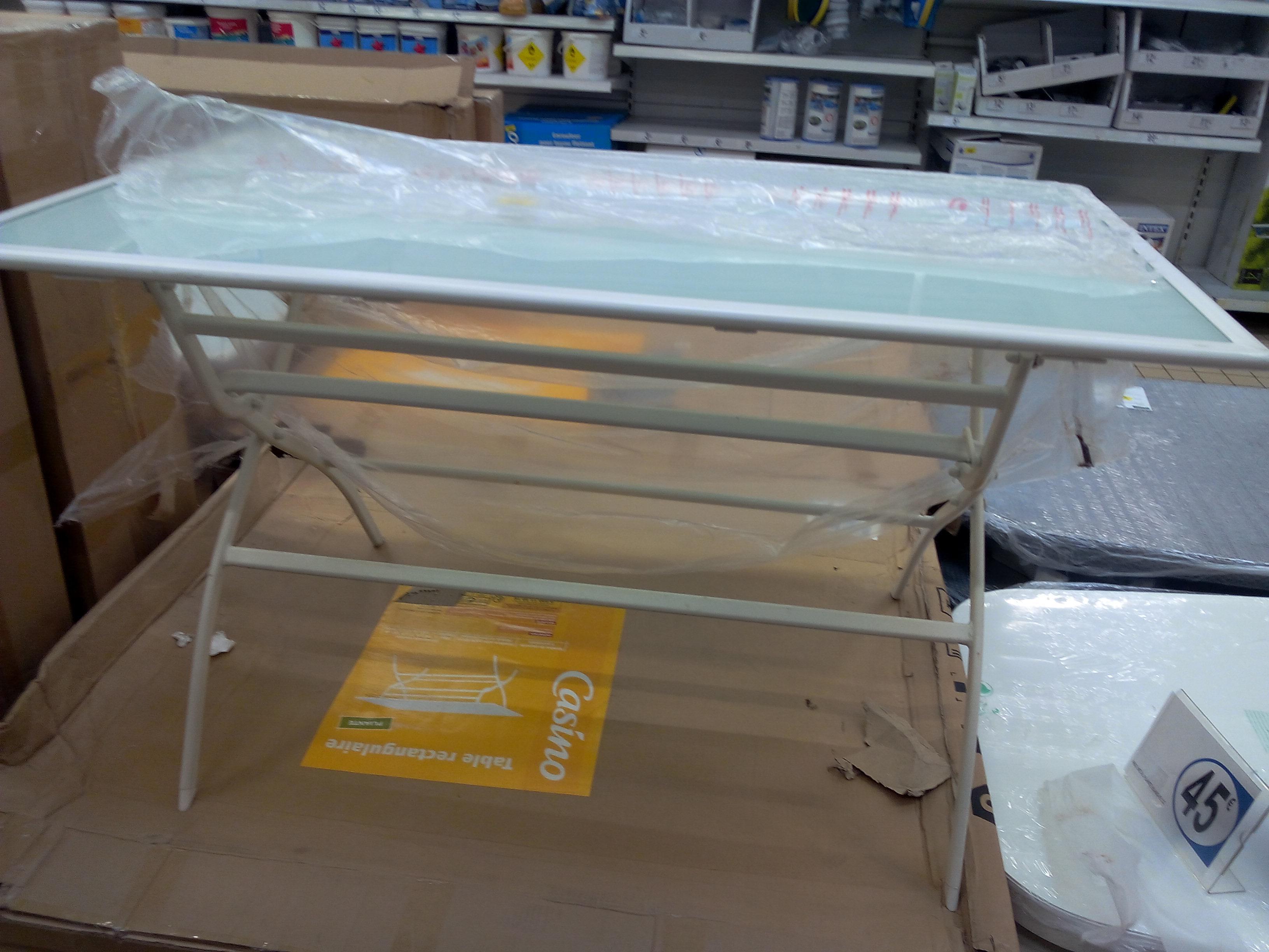 Table pliante rectangulaire en acier et verre trempé