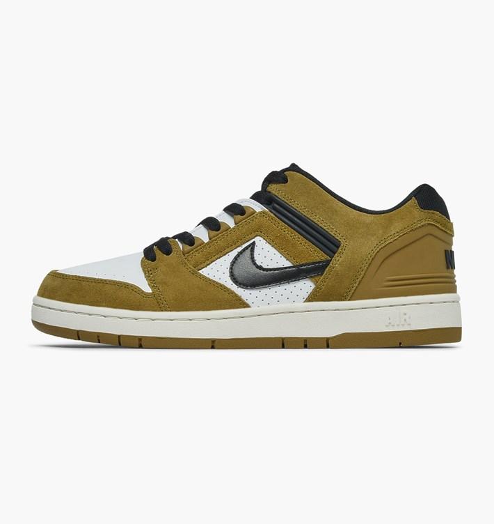 Chaussures de skate Nike Air Force II Low Lichen Brown Black White Phant c7a75fa4d9da