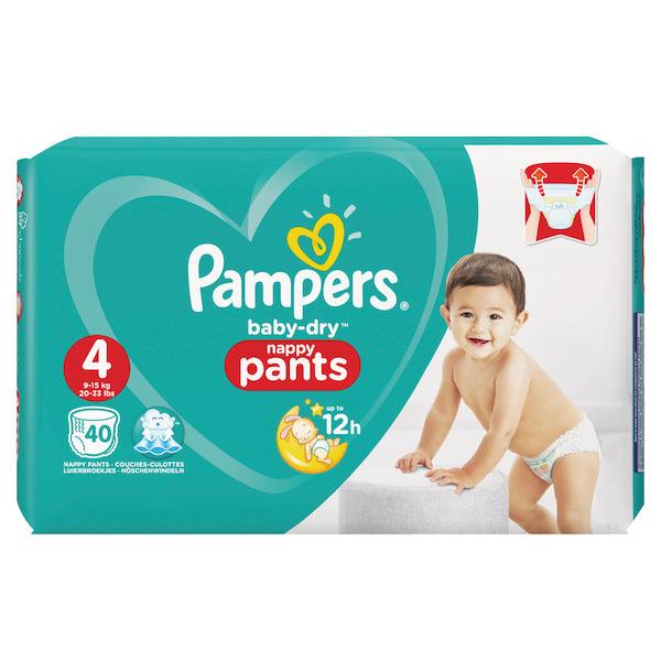 Paquet de 40 Couches Pampers Baby dry Happy pants (via 9.82€ sur la carte + BDR)