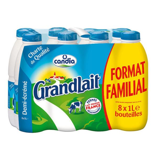 2 Packs de Lait Candia GrandLait Demi-Ecrémé (8 x 1L)